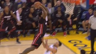 James Johnson Dunks on Stephen Curry! Stephen Curry Gets Posterized! Heat vs Warriors