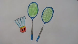 Badminton racquets drawing