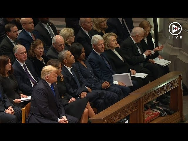 That awkward moment between the Obamas and Trumps at the Bush funeral