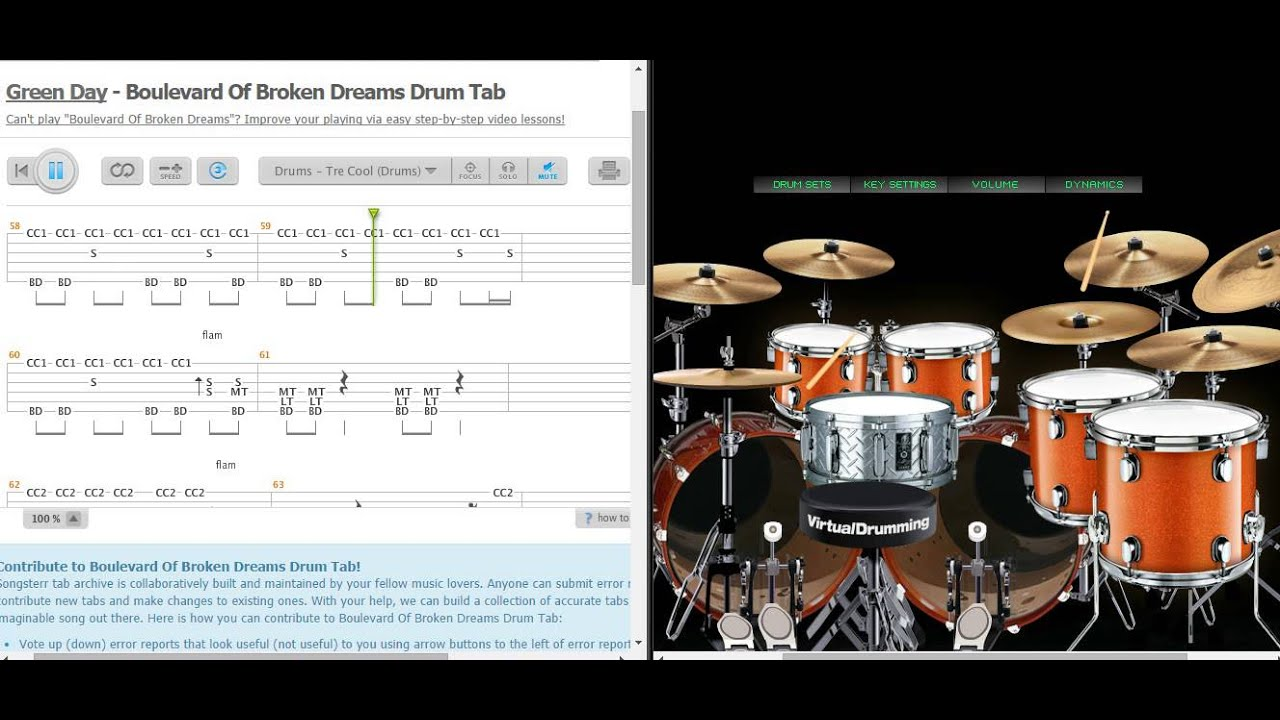 Green Day - Boulevard Of Broken Dreams ( COVER VIRTUAL DRUM + Tab) - YouTube