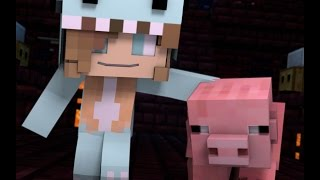 "Minecraft Song and Minecraft Animation ""Gimme Back My Pig"" Psycho Girls Little Sister Minecraft Song"