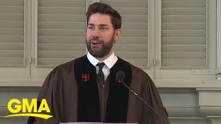 John Krasinski gives inspiring commencement speech at Brown University l GMA Digital