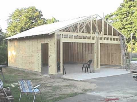 Building your own 24 X24  garage and save money. Steps from concrete to framing.
