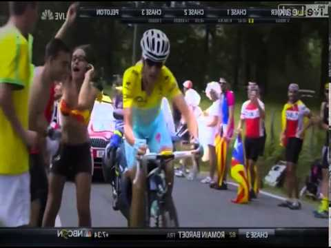 Tour de France Leader Vincenzo Nibali Separates Dumb Girl Mugging for the Camera from Her Phone