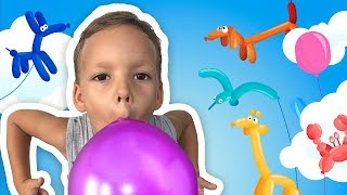 Elisei and Mom playing with Balloons, making Balloon Animals and learn colours