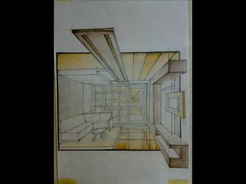 One Point Constructed Perspective Drawing Tutorial Youtube