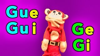 Sílabas ge gi gue gui - El Mono Sílabo - Videos Infantiles - Educación para Niños #