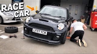 MINI COOPER S JCW RACE CAR PROJECT GETS ADJUSTABLE DROP LINKS!!