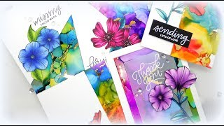 Alcohol Ink Backgrounds with Gold Foil Details Part Two