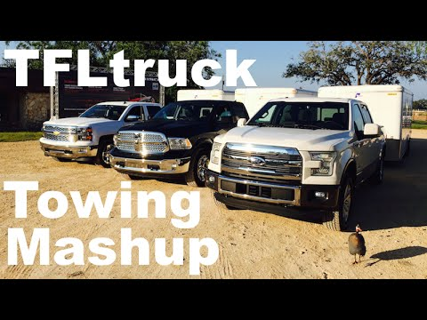 2015 Ford F-150 3.5L Turbo vs Chevy Silverado 6.2L vs Ram 5.7L HEMI Towing Mashup Review