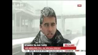 istanbulda Yoğun Kar yağışı Süleyman TUNÇ ülke TV 3G ile canlı bağlantı 18.02.2015