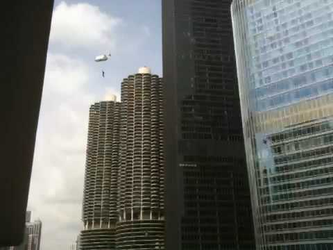Transformers 3 shoot in Chicago - base jumping/gunfire