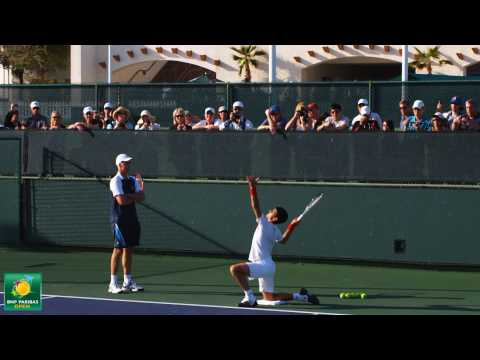Novak Djokovic and Todd Martin practice serving drills -- Indian Wells Pt. 21