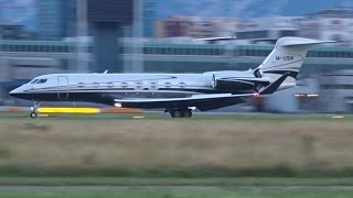 [FullHD] Private Gulfstream G650 landing & takeoff at Geneva/GVA/LSGG