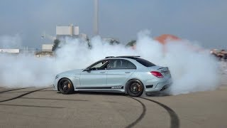 Mercedes Benz C63S AMG - BURNOUT, Launch Control & STOPPED BY POLICE!