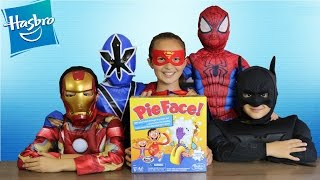 SUPERHERO PIE FACE CHALLENGE Whip Cream In The Face Game Batman Spiderman Supergirl Ckn Toys