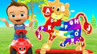 ABC Alphabets Song for Preschool Children - Little Baby Fun Play Learn Alphabets with Wooden Cow Toy