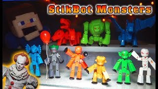 STIKBOT MONSTERS FULL SET Toy UNBOXING! w/ Pennywise It Clown!