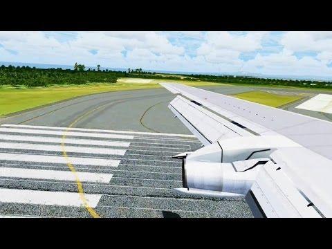 United Boeing 737-200 Landing @ Las Americas ( Wing ) ( HD )