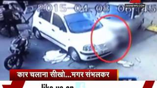 Delhi: Woman mows down old man while learning to drive