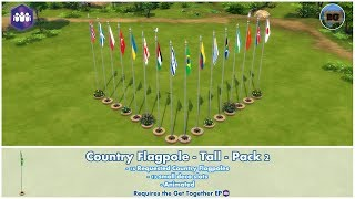 Bakies The Sims 4 Custom Content: Animated - Country Flagpoles - Tall - Pack 2