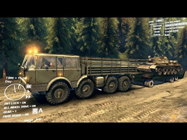 Spin Tires Dev Demo July 2013 - Tatra 813 KOLOS Transporting a T 55 Tank on a Trailer