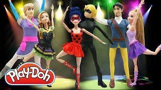 Play Doh Disney Couples Anna Kristoff Rapunzel Flynn & Ladybug Cat Noir