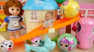 Baby doll slide park and surprise eggs toys play