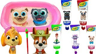 Learn Colors with Paw Patrol and Puppy Dog Pals Bingo and Rolly Bath Paint