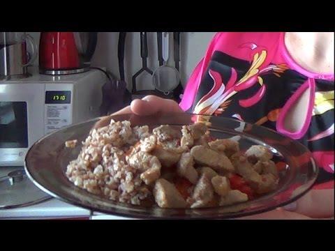 13. Поджарка из свинины с гречкой. Fried pork with buckwheat