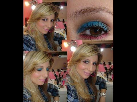 Maquiagem Color Blocking: azul, rosa & lilás