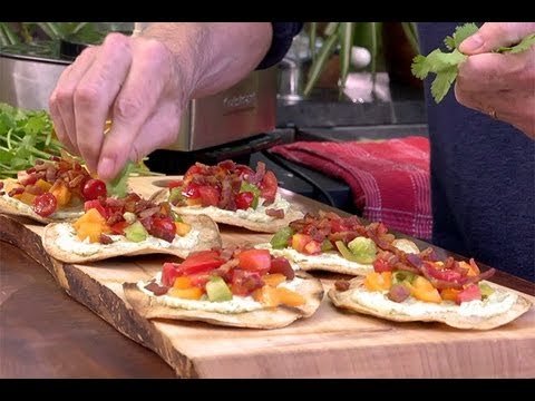 Grilled Tostadas with Bacon, Avocado Mayo and Heirloom Tomatoes by Chef Rick Bayless
