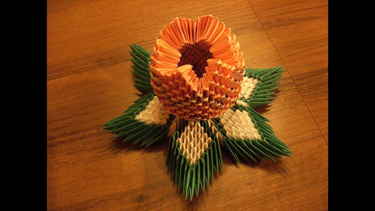 3D origami - LOTOS flower - how to make instruction - YouTube - photo#17