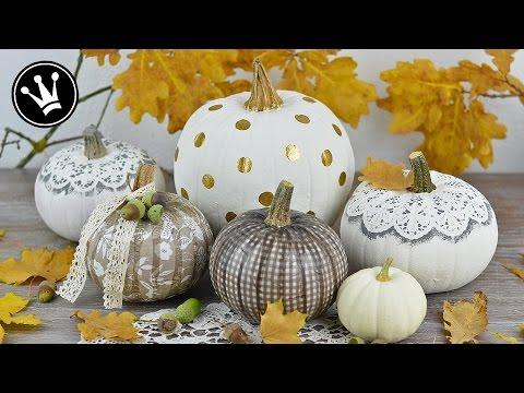 DIY - Kürbis mit Serviettentechnik, Spitze und Stempel designen I Herbstdeko mit Kürbis I How to
