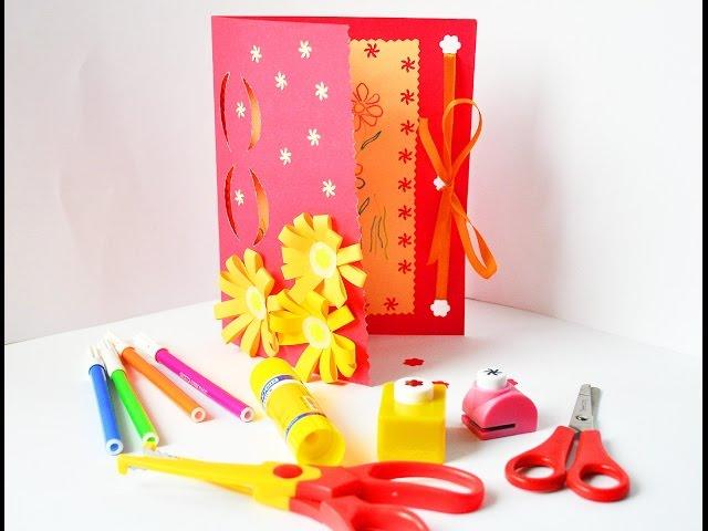 Поделки с детьми - Как сделать открытку на 8 марта! Greeting Card for 8 March!