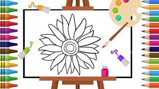 How to Draw sunflower -Coloring pages for Kids - Art Colors for - Learn Drawing - Art Explain