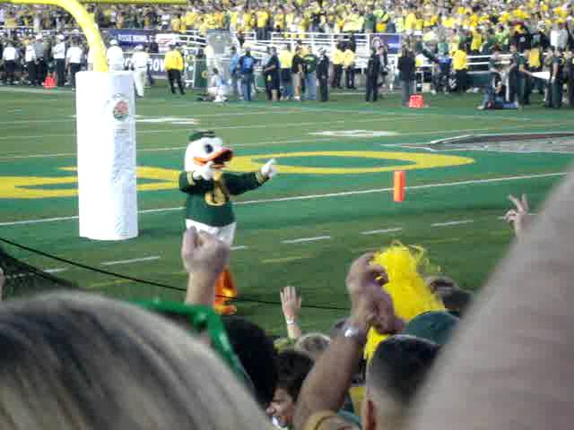 The Duck does pushups during the Rose Bowl after Oregon reaches 42 points vs. Wisconsin 1-02-2012