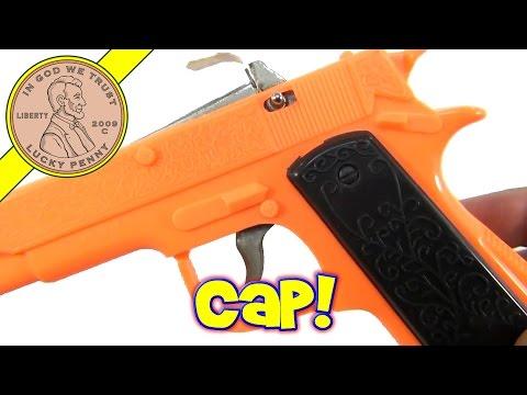 Neon Orange Imperial Plastic Toy Cap Gun with Paper Roll Caps