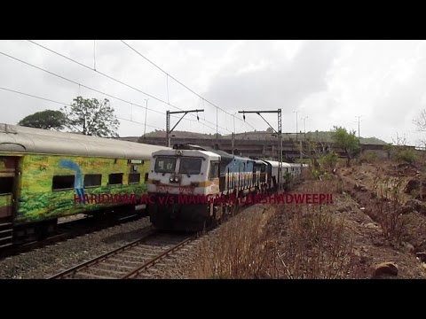 Diesel V/S Electric : Colourful Haridwar AC meets Mangala Lakshadweep!! Indian Railways!!