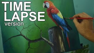 Time-lapse Acrylic Painting Demo - The Parrot by JM Lisondra