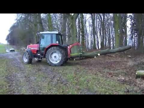 Brennholz rücken mit MF6130 und Rückezange