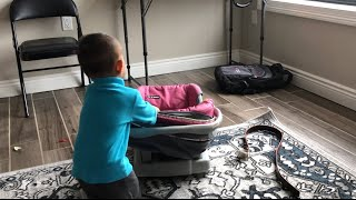 15 month baby car seat pulling challenge | baby funny video playing with baby car seat