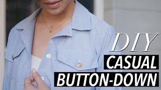 Download How to Make a Button Down Shirt (casual chambray) | WITHWENDY 3Gp Mp4