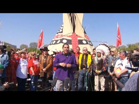 Cowboy Indian Alliance Protests Keystone XL Pipeline in D.C. After Latest Obama Admin Delay