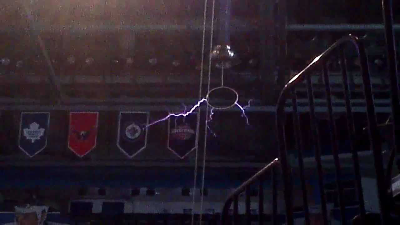Testing Out The Tesla Coil At St Pete Times Forum Youtube