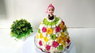 Doll Cake | Eggless orange sponge doll cake | Bangla Doll Cake Recipe | Easy eggless doll cake | spo