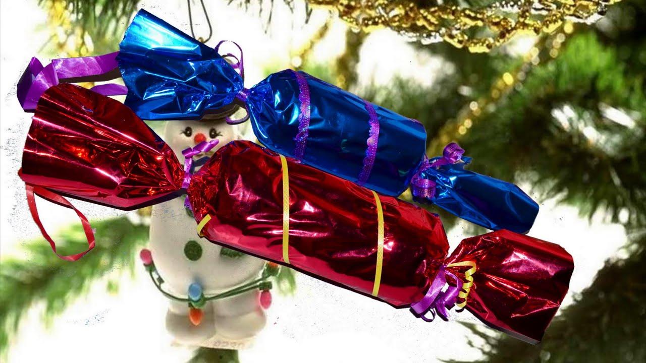 Большая конфета на елку из бумаги своими