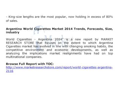 World Cigarettes Market 2014 in Algeria Argentina