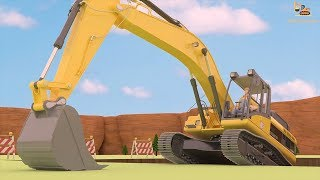 Build a house - Diggers Construction Vehicles 3D | Excavator | Dump truck | Cement mixer truck