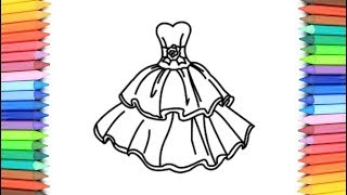 How To Draw A Girls Dresses for Kids 💙💜💖 Girls Dresses Drawing and Coloring Pages for Kids